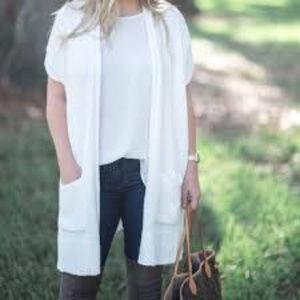 Lou & Grey Open Front Dolman Sweater In White